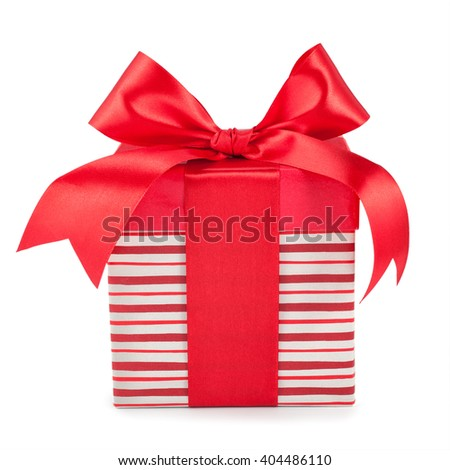 striped boxes with gifts tied bows on white background