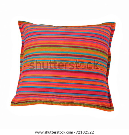 striped colorful pillow isolated on white background - stock photo