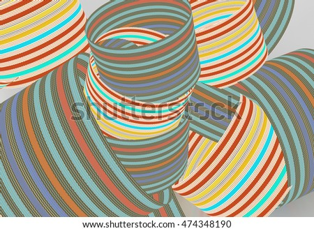 Striped colorful shapes for graphic background, graphic design projects, corporate identity, brochures, websites. 3D illustration