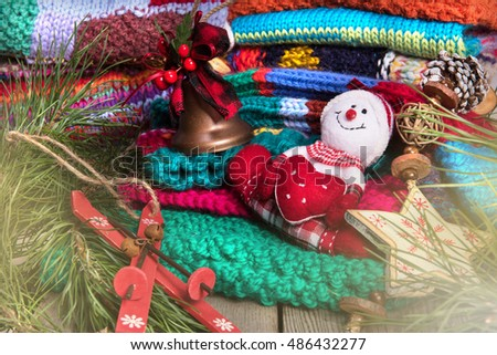 striped colorful wool texture handmade patten closeup macro blue red green yellow pink purple orange beige christmas decoration snowman