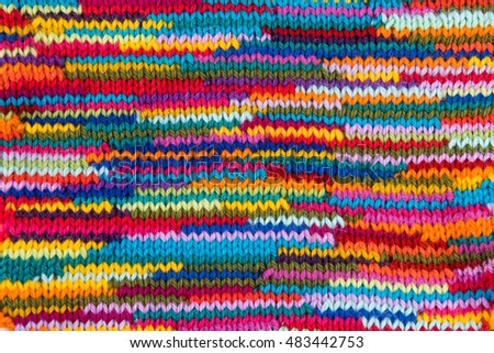 striped colorful wool texture handmade patten closeup macro blue red green yellow pink purple orange