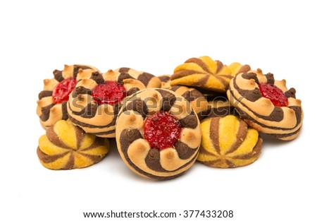 striped cookies on a white background - stock photo