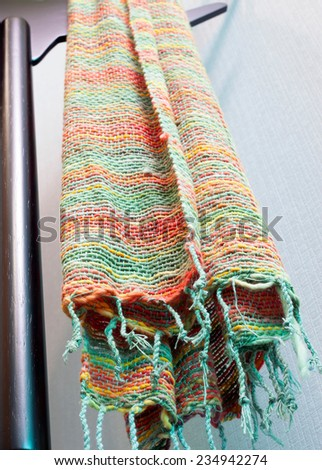 striped cotton made from little pieces of colorful woven cotton