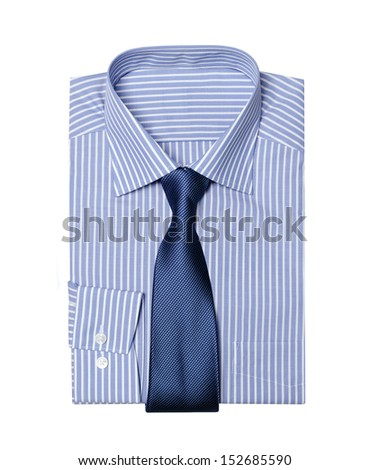 striped folded  shirt  with a tie isolated on white background  - stock photo