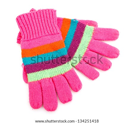 striped gloves isolated on white - stock photo