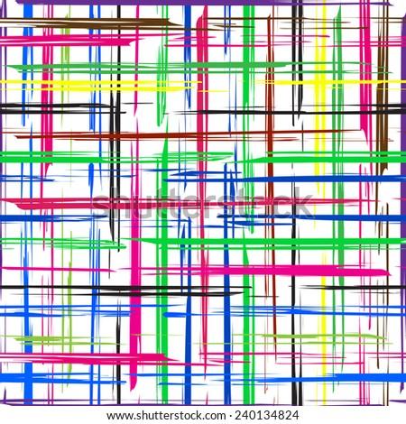 Striped grunge grid colorful texture. Seamless grunge brush. Illustration background.  - stock photo