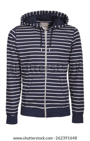 Striped hooded sweater isolated  - stock photo