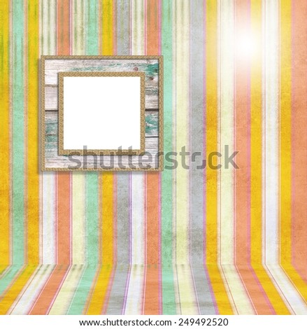 Striped interior room with  square frame - stock photo