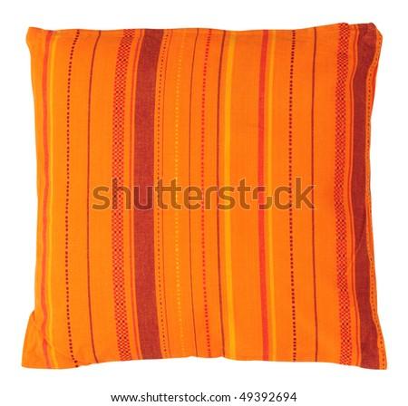 Striped orange cushion. Isolated - stock photo