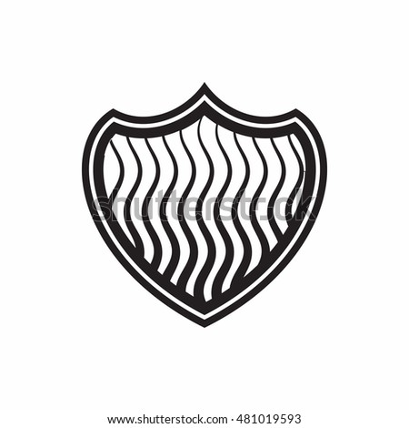 Striped shield icon in simple style isolated on white background. War symbol