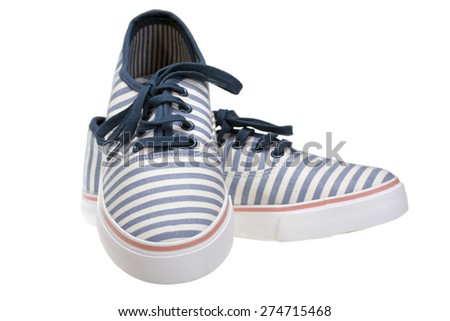 striped  slip-on casual shoes on white isolated - stock photo