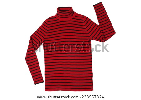 Striped sweater isolated on white background - stock photo