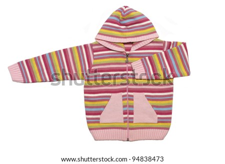 Striped sweater on white background - stock photo