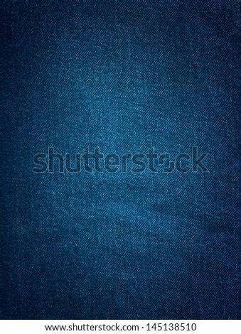 Striped textured blue jeans denim linen fabric background - stock photo