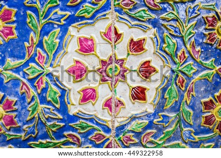 Striped Thailand, color full of wall in temple, Wat Phra Kaew, Bangkok, Thailand - stock photo