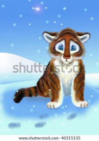 striped tiger amongst snowdrift of the snow - stock photo