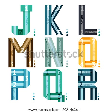 Striped uppercase font with alphabet letters and number options and stripes for use in infographics  part of a series of three sets being j-k-l-m-n-o-p-q-r - stock photo