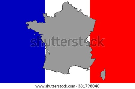 Striped white and blue flag of European country of France with map outline silhouette in grey color over it. - stock photo