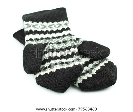 striped wool mittens isolated on white background - stock photo