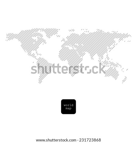 Striped world map isolated on white - stock photo