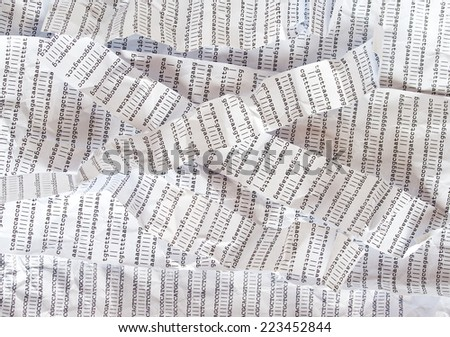 Stripes of crumpled DNA sequence - stock photo