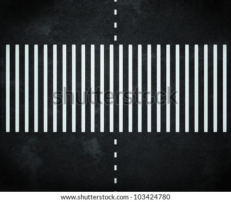 Stripes on Asphalt Road - stock photo