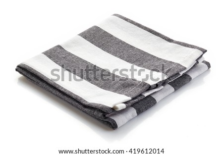 Stripped kitchen towel isolated on white background