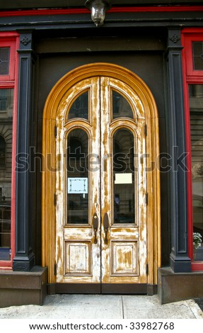 stripped wooden door - stock photo