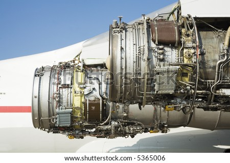 stripping airplane engine after breakage - stock photo