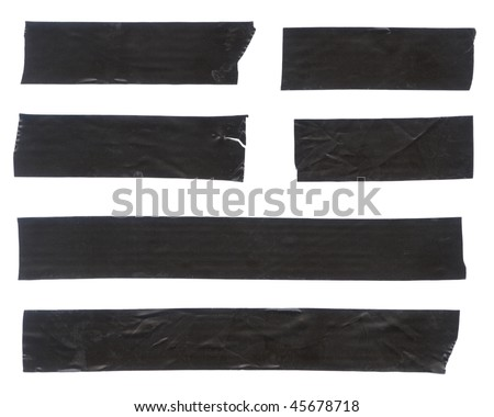 Strips of black electrical tape. Isolated on white. Clipping path included. - stock photo