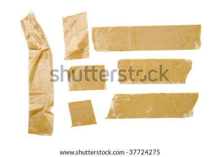 Strips of brown adhesive packaging tape isolated on white background - stock photo