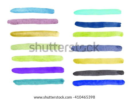 Strips of different colors, painted with watercolor