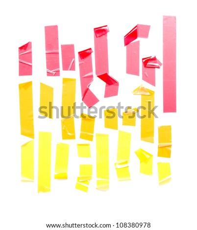 Strips of masking tape. Isolated on white background. - stock photo
