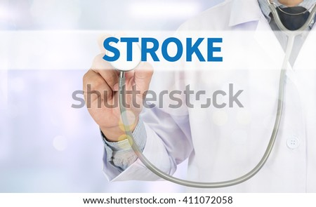 STROKE Medicine doctor hand working on virtual screen