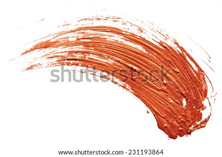 Stroke of bronze paint isolated on white background - stock photo