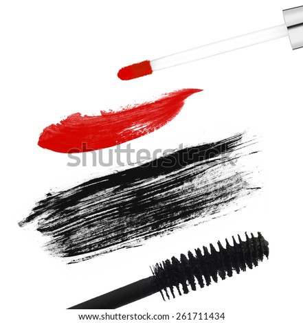 Stroke (sample) of black mascara, isolated on white macro - stock photo