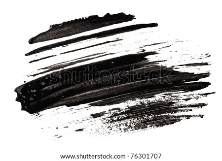 Stroke (sample) of black mascara, isolated on white macro