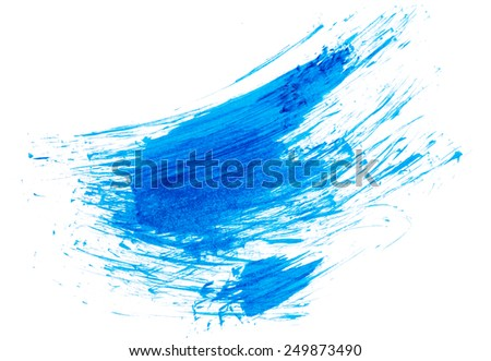 Strokes of blue paint isolated on white background - stock photo