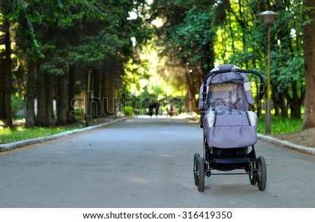 stroller on the street - stock photo