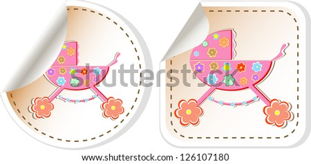 stroller:  stroller in stickers label tag set, raster