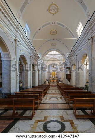 STROMBOLI, ITALY - JUNE 3: Interior of Saint Vincent Cathedral on June 3, 2011, Aeolian Islands, Sicily, South Italy.