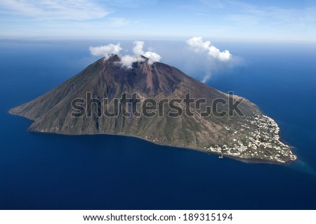 stromboli volcano at eolie island, Sicily, Italy, Europe  - stock photo