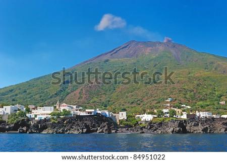 Stromboli volcano Sicily Italy - stock photo