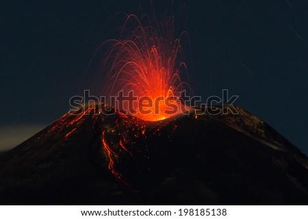 """Strombolian activity of the volcano """"Etna"""" in Sicily, Italy - stock photo"""