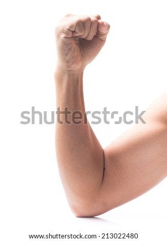 strong arm isolated on white - stock photo