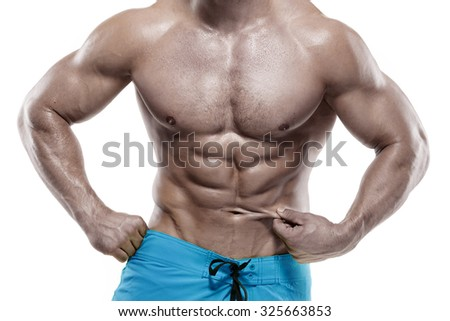 Strong Athletic Man Fitness Model Torso showing abdominal muscles without fat isolated over white background