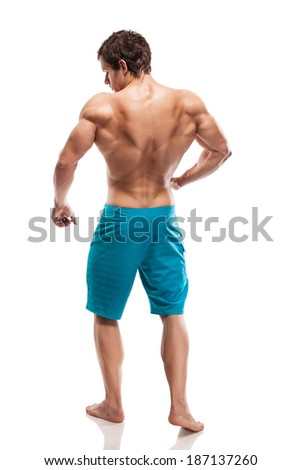 Strong Athletic Man Fitness Model Torso showing big back muscles - stock photo