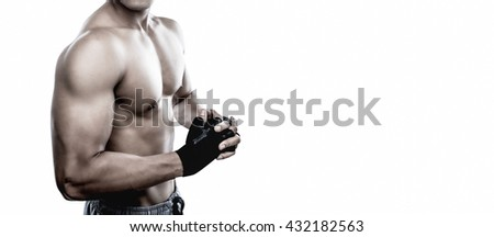 Strong Athletic Man Fitness Model Torso showing six pack abs.Isolate with copy space.