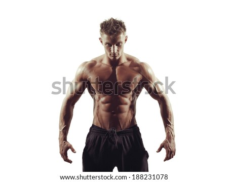 strong athletic man on white background  - stock photo