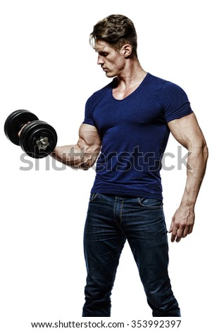 Strong Athletic Man showing muscular body over white background